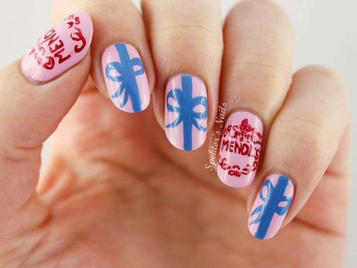 Mendl's Nail Art based on the movie The Grand Budapest Hotel.  Nail art by Spektors Nails.