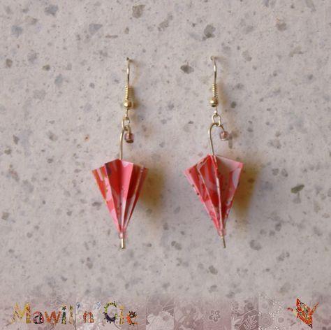 """Boucles d'oreilles origami """"Parapluie"""" rose"""