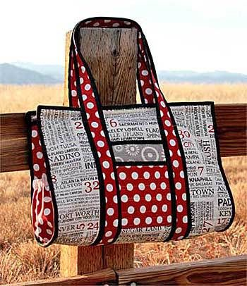 The Sweet Retreat's Weekend Bag pattern is charm pack and jelly-rollfabric friendly with comfortable double handles, a front pocket, and large enough to carry your
