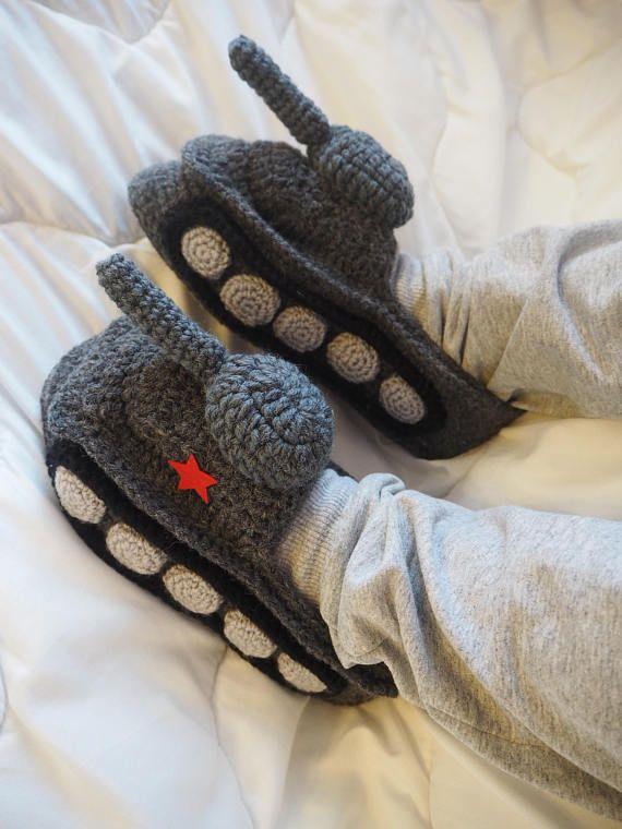 Tank Slippers Gift for Men Panzer tank Slipper Crochet tank slipper Hand Knit Slippers Funny Shoes G