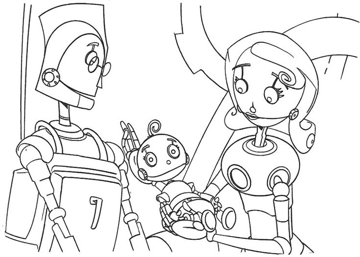 Happy Robots Child Was Born Coloring Page