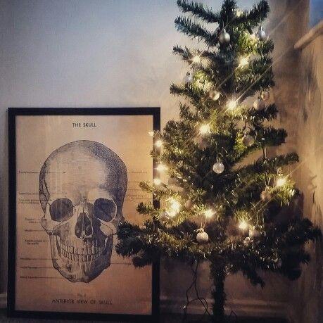 Festive hallway /landing with my newly framed cavalini skull print