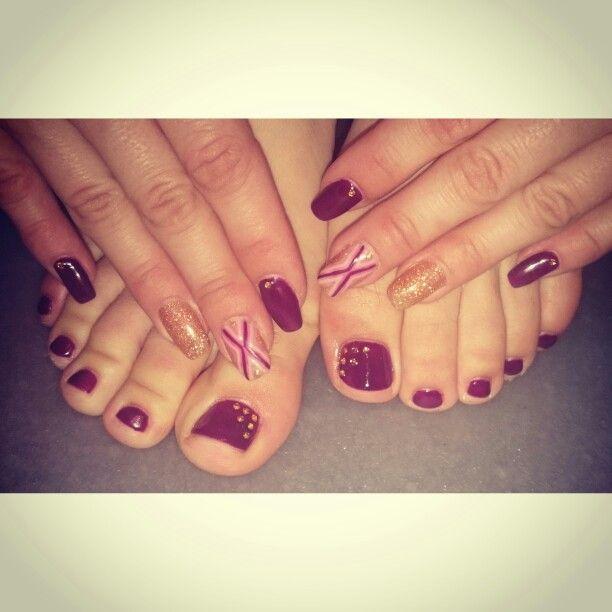 Plum. Nails. Nail art. Toes.