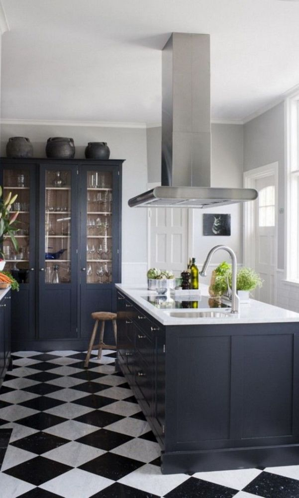 56 Black Kitchen Cabinet Ideas For Stylish Cooks 2020 Part 14 Black White Kitchen White Kitchen Floor White Tile Kitchen Floor