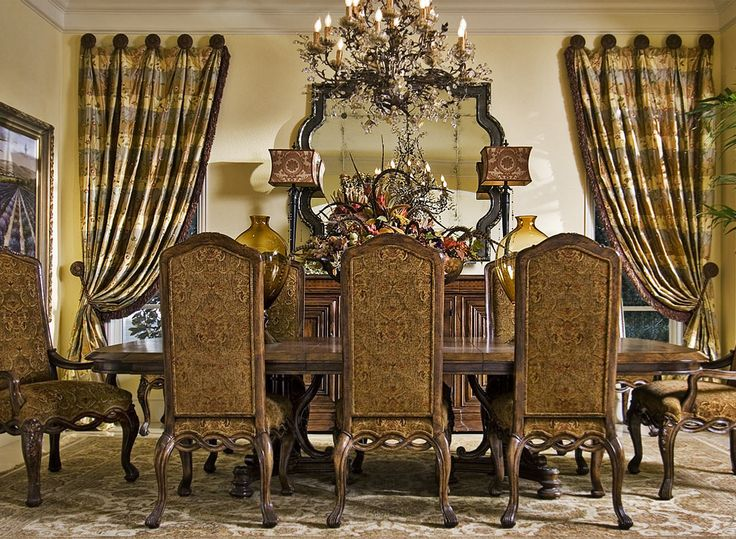 Pleated Drapes Hung On Medallions With Tiebacks Wesley Wayne Interiors Decorating Dining RoomsLiving RoomsFormal