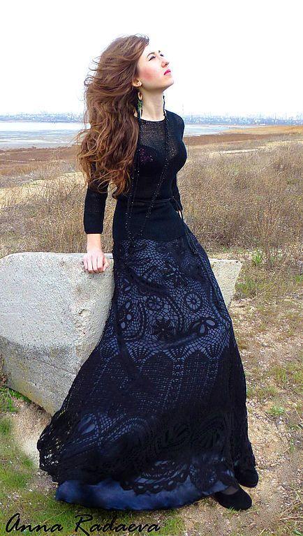 Купить платье в ирландском стиле - вязаное платье крючком, вязаное платье спицами, Вязание крючком
