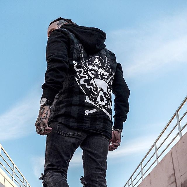 "CRMC X @lzhra ""Satan's Waitin'"" Checked Raglan Hood Available at www.crmcclothing.co | WE SHIP WORLDWIDE Model - Ryan Wreckless Photography by Archivalgrams #darkwear #blasphemy #blackwear #satan #checkedshirt #altfashion #alternative #occult #fashionstatement #hood #fashionista #skullandcrossbones #stylegram #checked #menwithtattoos #guyswithdreads #esoteric #hoody #hoodie #alternativeguy #alternativeboy #alternativegirl #alternativeteen #fashion #fashionblog #ryanwreckless"