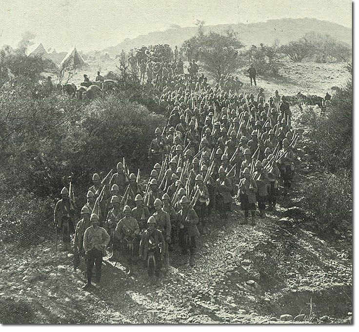 British Empire: Armed Forces: Units: British Infantry: Gordon Highlanders marching on Dargai Hts 1897