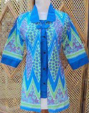 Blus Batik Sistar Biru Bahan katun, batik printing, ukuran lingkar dada 90-100cm