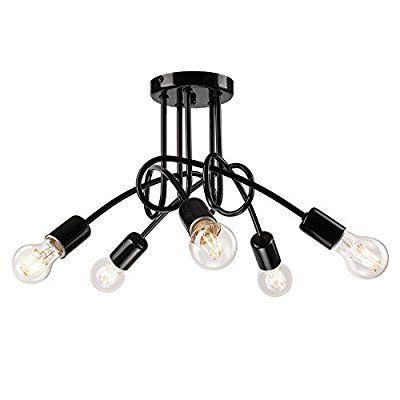 Pendel Lampe Decken Leuchte Aus Metall E27 Hnge Farbe Schwarz