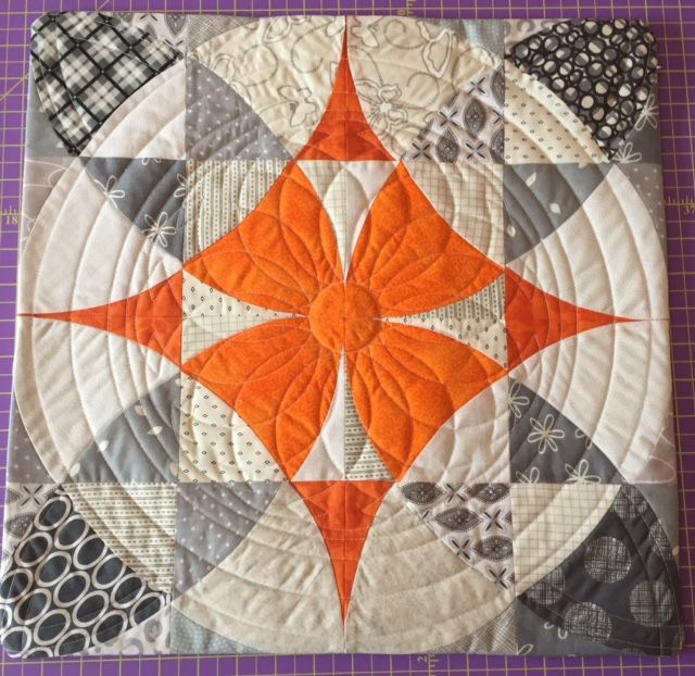 """Sampler Cushion made from Sew Kind of Wonderful Chic Country Quilt pattenr for the Quick Curve Ruler. Quilted with Westalee Ruler Foot and templates. Templates used are: 12""""-18"""" Circles on Quilts, Circles on Quilts Spinning Wheel 1, 12"""" arc and 2"""" circle"""