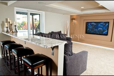 Basement Bar Behind Couch Design Ideas, Pictures, Remodel, and Decor