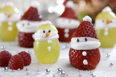 Papai noel e boneco de neve com frutas - Pra Gente Miúda