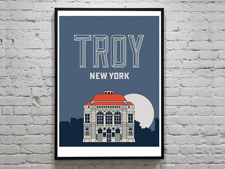 Music Hall Poster:   From the series of posters designed to give props to the hip City of Troy NY. This is the Troy Savings Bank Music Hall renowned for its acoustics and an Odell concert organ. So there's that.