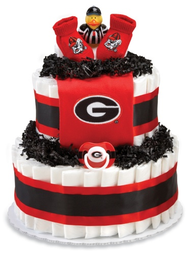 UGA Georgia Bulldogs Diaper Cake...too bad I didn't see this before Alex's shower :(...I mean I made a pretty cute diaper cake but this is precious