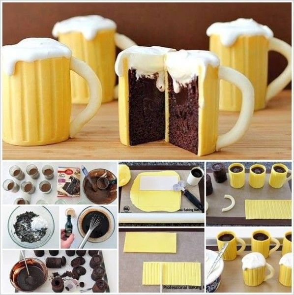 DIY Delicious Beer Mug Cupcakes With A Sweet Surprise - Find Fun Art Projects to Do at Home and Arts and Crafts Ideas