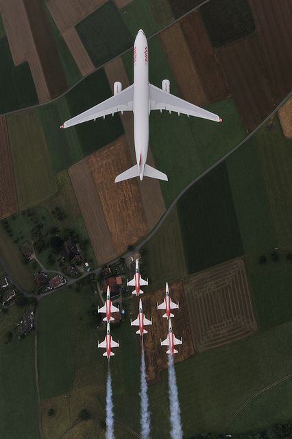 ♂ Airbus A330-300 and Patrouille Suisse by SwissintlAirlines #ecogentleman #automotive #transportation #wings