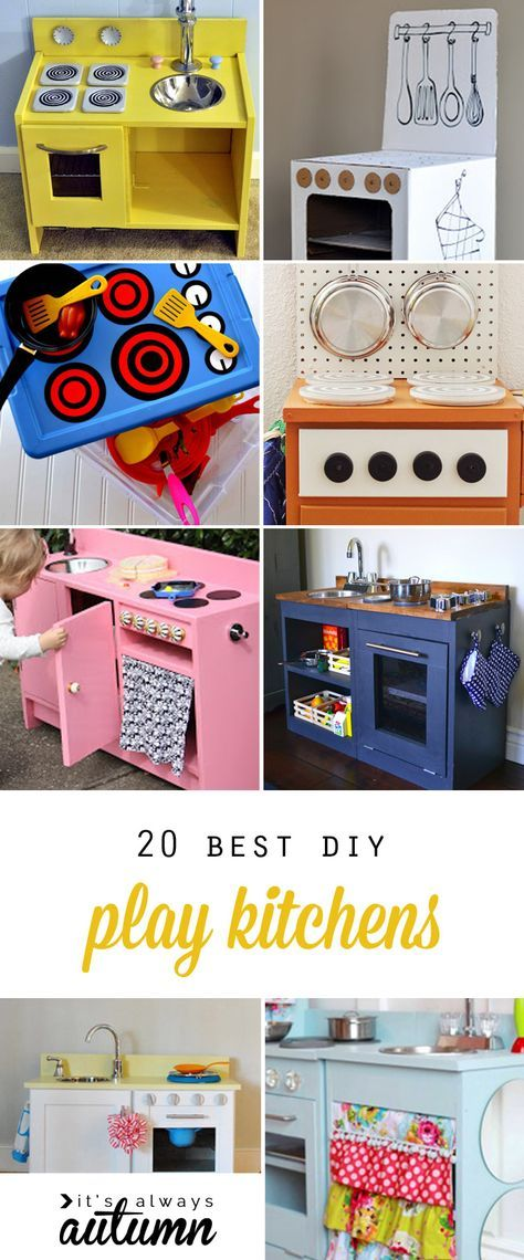 Play kitchens are a great DIY Christmas gift! Learn how to build your own toy kitchen with these 20 best play kitchen tutorials. Click through for ideas and instructions to make an easy cardboard kitchen, a custom wood kitchen, kitchens made from thrifted furniture, and more!