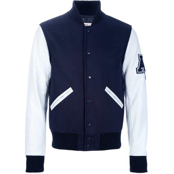 AMERICAN COLLEGE Varsity Jacket (715 BRL) ❤ liked on Polyvore featuring men's fashion, men's clothing, men's outerwear, men's jackets, mens blue jacket, mens long jacket, mens white jacket and mens short sleeve jacket