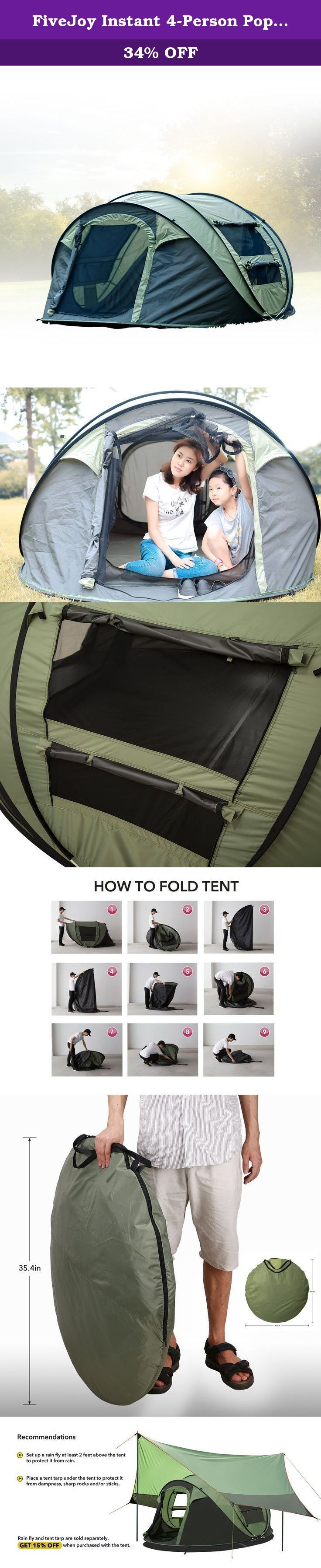 FiveJoy Instant 4-Person Pop Up Tent - Set Up in Lightning Speed, Easy Fold Up into Portable Carrying Case Including Stakes - Ideal Automatic Shelter for Family Camping, Hiking, Outdoor, Festivals. Camping for the first time? Don't waste precious vacation time setting up your tent! Try our FiveJoy INSTANT Pop-Up Tent and get it set up in LIGHTNING SPEED . Set up is easy: remove the cover, unstrap, and release the tent into the air. It'll pop right open before it hits the ground! Packing…