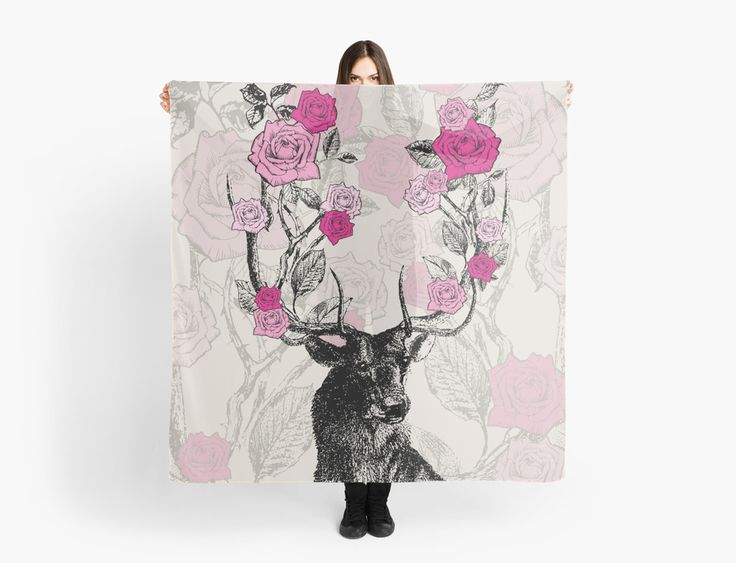 Stag and Roses Scarf | Scarves | by Eclectic at HeART