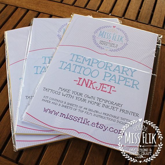 DIY Temporary Tattoo Paper Print Yourself 1 5 or 10 by MissFlik, $10.00