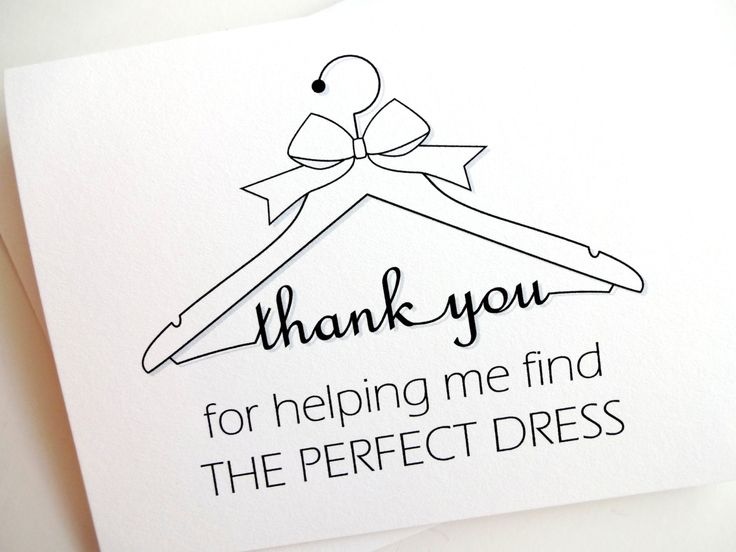 Thank You for Wedding Gown Salon Card by lilcubby on Etsy