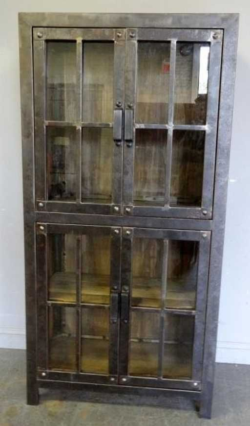 Lot: Wood and Metal Industrial Style Vitrine., Lot Number: 0381, Starting Bid: $200, Auctioneer: Clarke Auction Gallery, Auction: Art, Midcentury, French & Antique Auction, Date: June 3rd, 2013 EDT