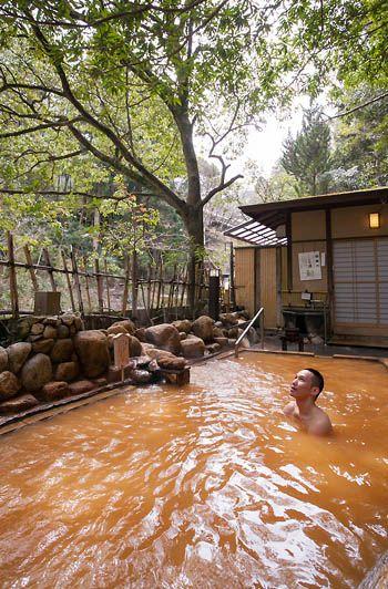 Open-air bath, Arima, Kobe, Japan [ MexicanConnexionforTile.com ] #bathroom #Talavera #Mexican