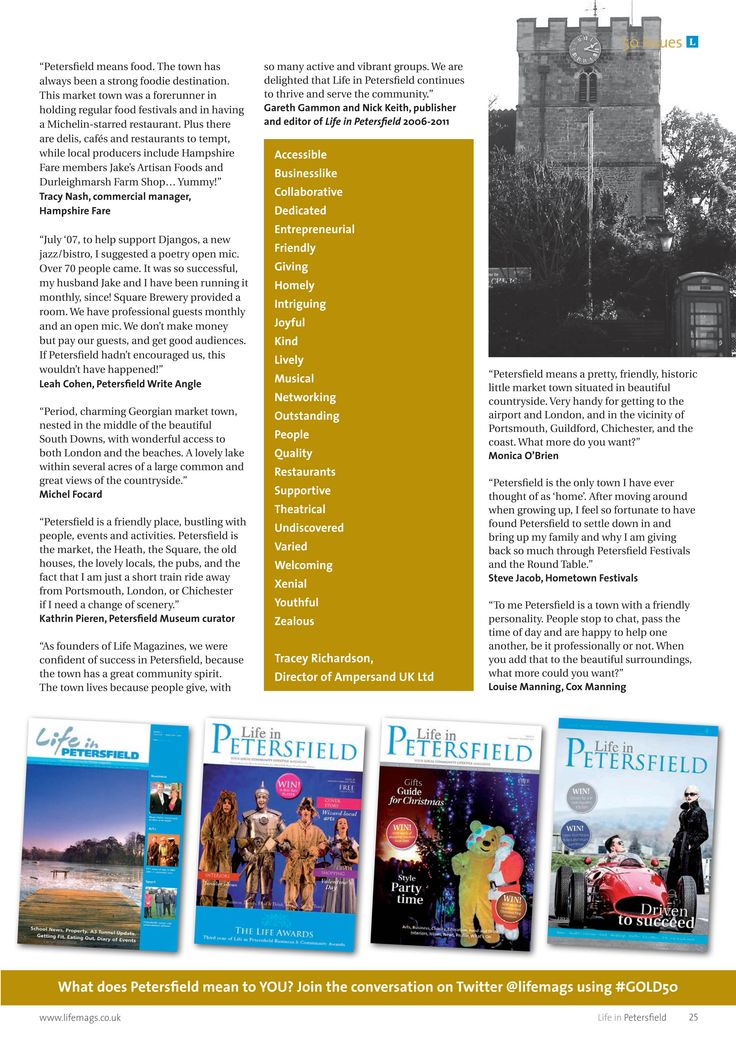 ~ What does Petersfield mean to YOU? ~ 50 issues and eight years of Life in Petersfield magazine #locallife #Petersfield #50Gold #Hampshire