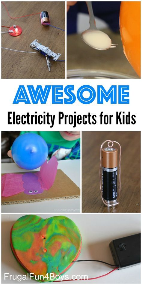 10 Awesome Electricity Projects for Kids - Simple static electricity demonstrations, build a circuit, show how a switch works, electromagnetism and more!
