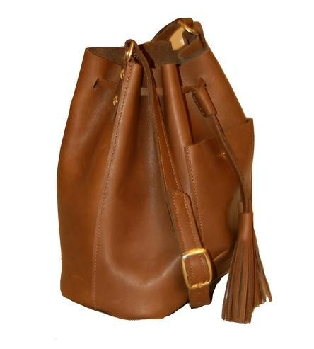 Leather Bucket Bag with Tassels.