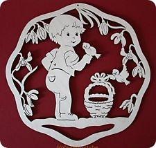 Fensterbild Wandbild Junge natur 23 cm Holz Deko