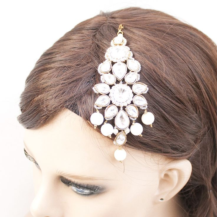 Ethnic Pakistani Indian Patwa Pasa Jhoomar Head Ornament in Crystals and Pearls