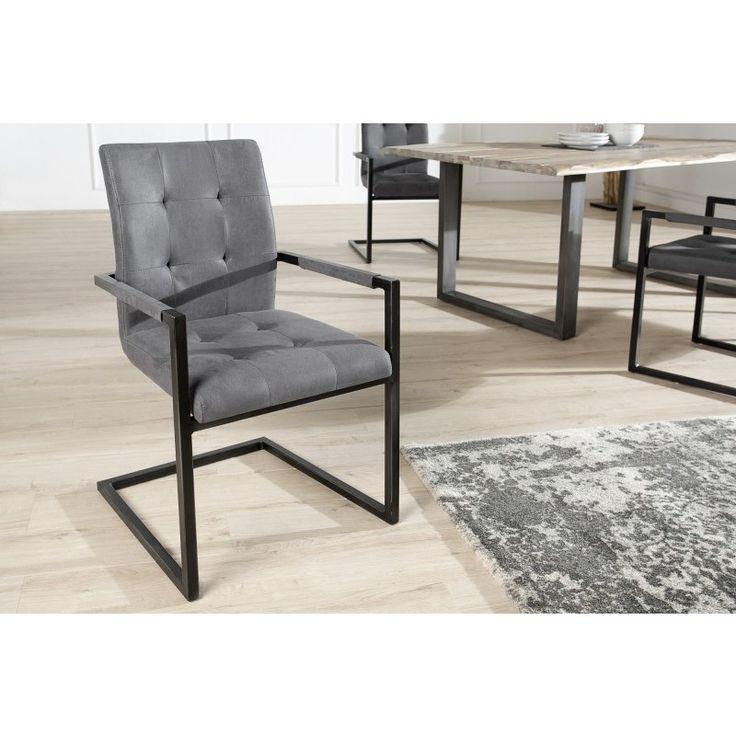Vrijdragende zweefstoel Oxford grijs met armleuning - 36960