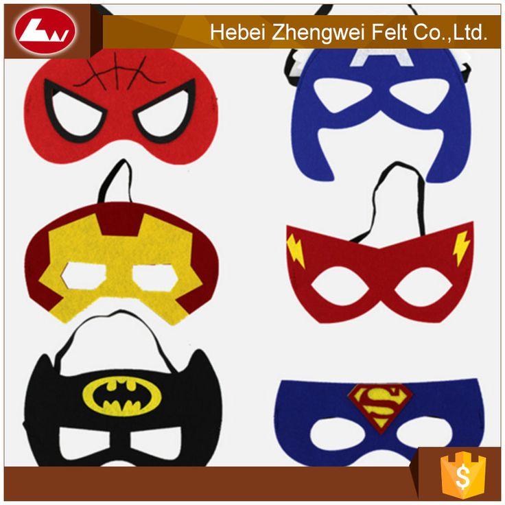 $1.5 to $3.2  hot sale fashion supplier party favors superhero felt masks for kids