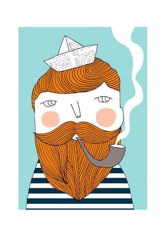 Sailor print 8 x 11.5 A4 van depeapa op Etsy