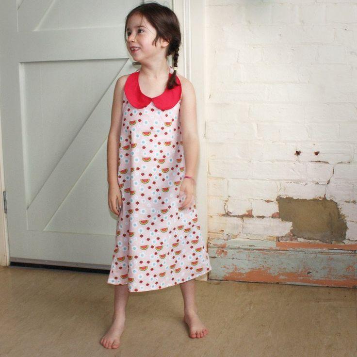 Tootypegs Kids Peter Pan collared halter tie dress