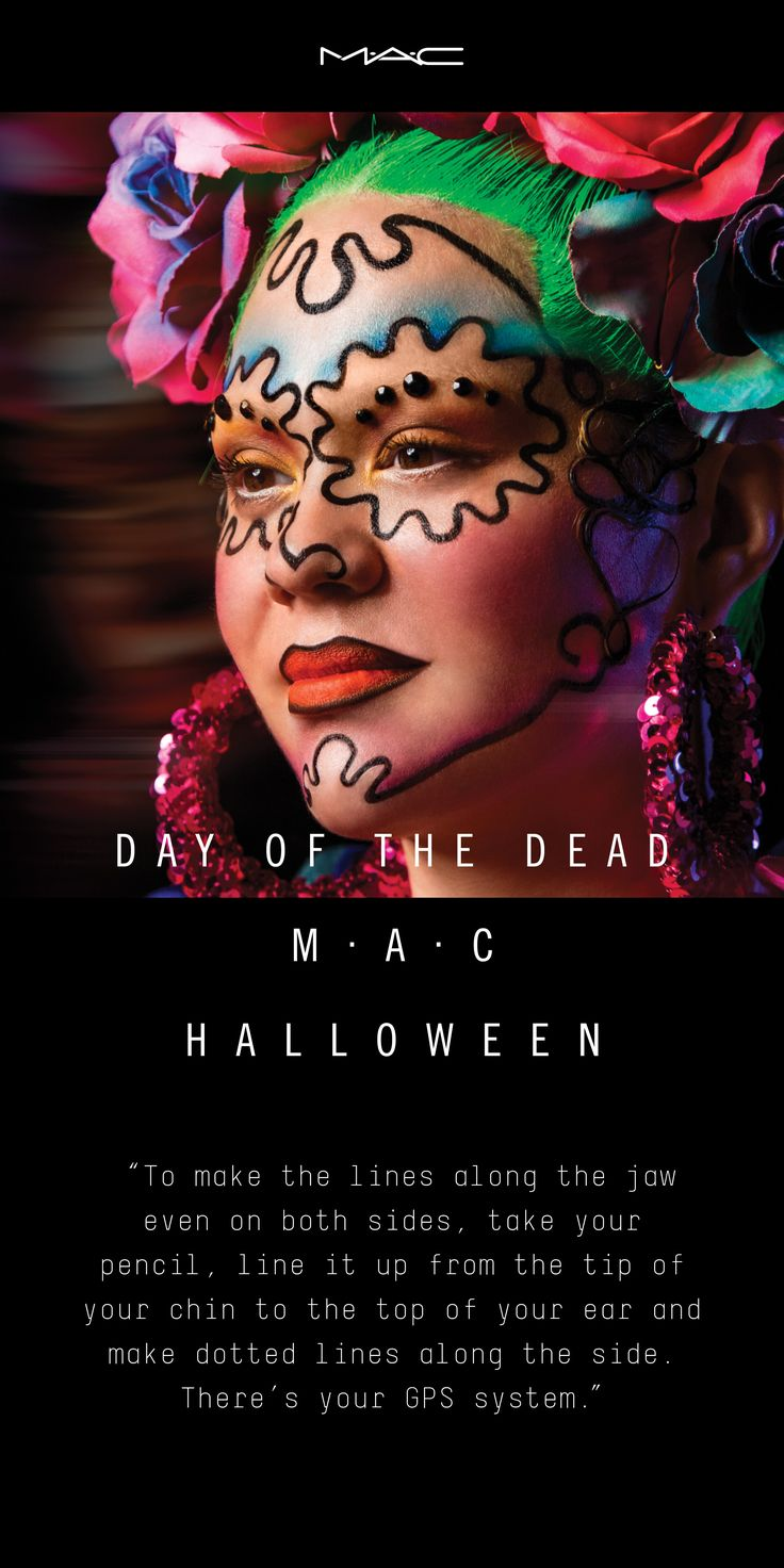 Summon something sweet and sinister as a Day of the Dead sugar skull with a Halloween look designed by Marissa Jade Willinsky exclusively for M·A·C.