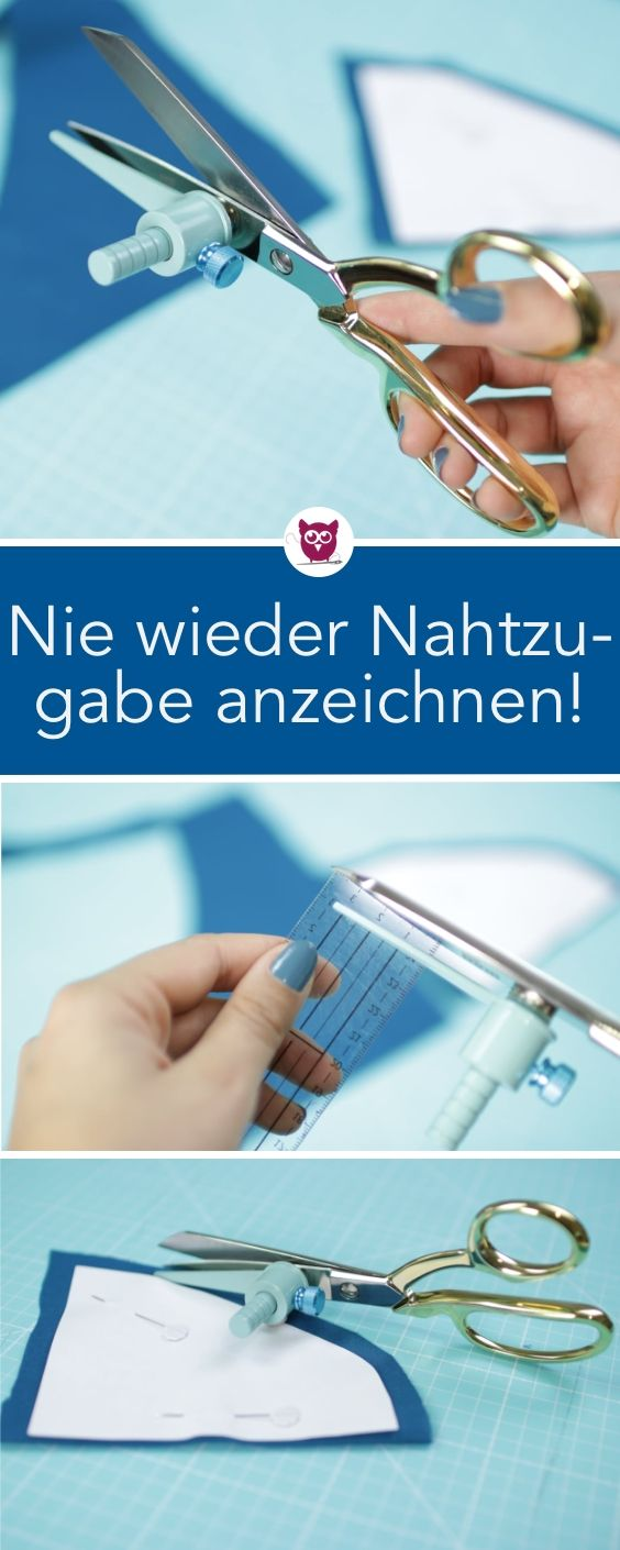 [Werbung] Never mark seam allowance again! Cutting aid easy Karl is here. The sewing gadget is magnetic and is clicked on the tailor's scissors. The seam allowance can then be individually adjusted and you can easily cut – DIY owl