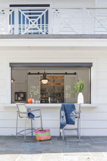 Patio bar into kitchen & pantry doors transitional patio by Von Fitz Design