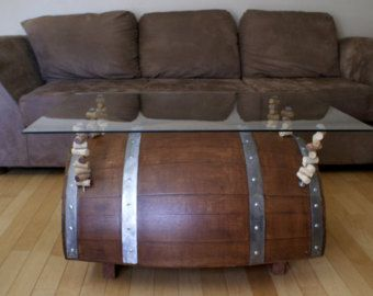 Wine Barrel Coffee Table.Coffee Table.Whiskey by MakariosDecor