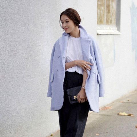 Elly Double Breasted Powder Blue Coat $168.00 http://www.helloparry.com/collections/new-arrival/products/elly-double-breasted-power-blue-coat