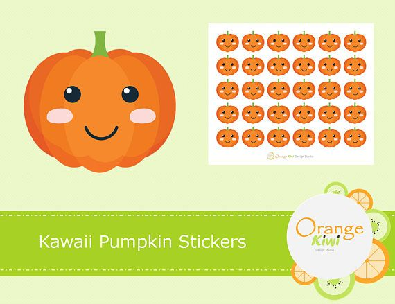 Kawaii Pumpkin Stickers, Halloween Stickers, Planner Stickers, Fall Stickers, Pumpkins