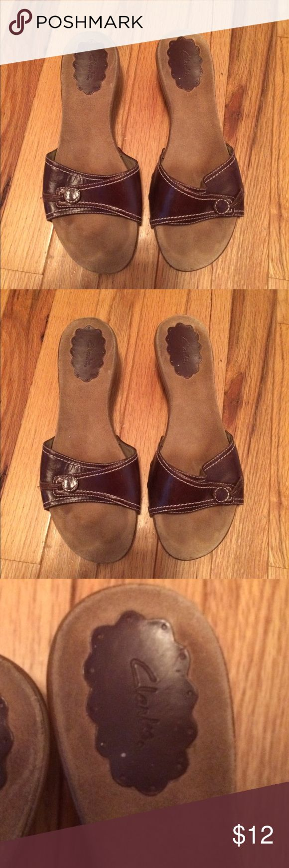 Women's Clark Shoes Women's Brown Clarks Sandals with a small heel. Clarks Shoes Sandals