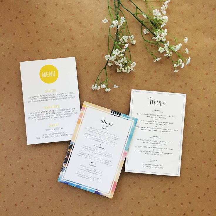 Wedding Menus! Match the your menu to your wedding suite!