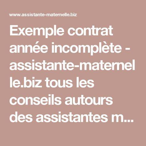 Exemple contrat année incomplète - assistante-maternelle.biz tous les conseils autours des assistantes maternelles et parents employeurs