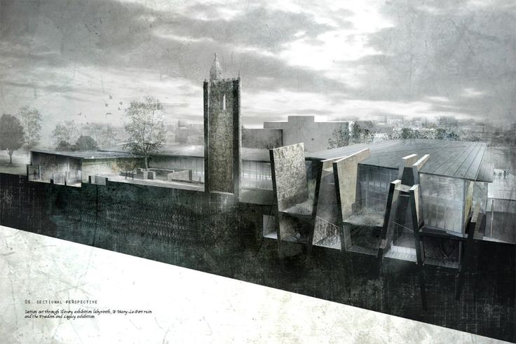 Stunning sectional perspective of a project proposal for the Ma'afa | Bristol Slavery Museum
