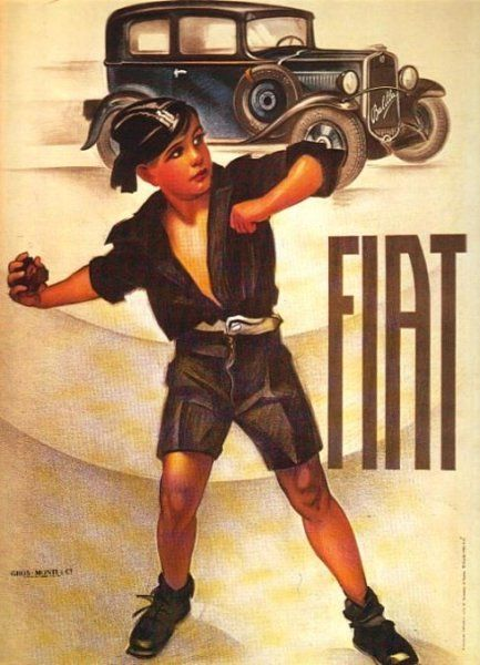 A boy in the Balilla (Fascist youth organization) uniform, promoting a new FIAT, also called Balilla.