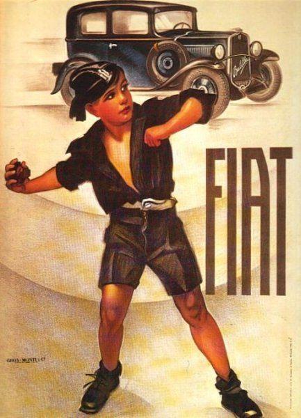 FIAT. A boy in the Balilla (Fascist youth organization) uniform, promoting a new FIAT 508 model, also called Balilla. Ca. 1930s.